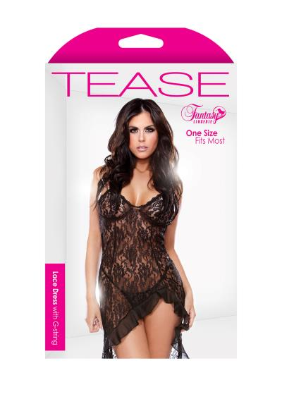 LACE DRESS & G-STRING BLACK OS