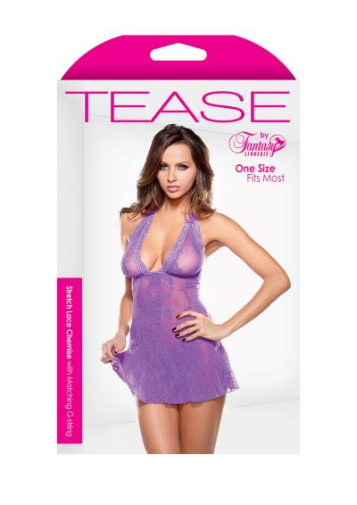 LACE CHEMISE & G-STRING PURPLE OS