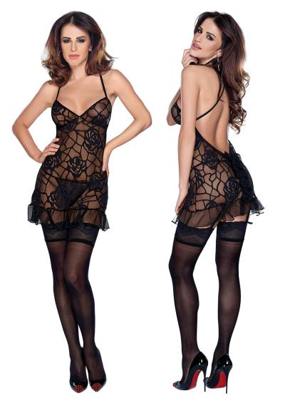 MINI DRESS & STRING L BLACK