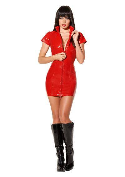 AV DRESS LACK WITH ZIPPER RED S