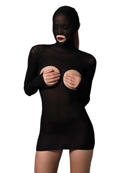MASKED CUPLESS MINI DRESS O/S BLACK