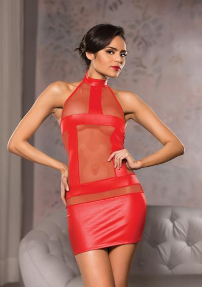 HALTER NECK MESH DRESS L/XL RED