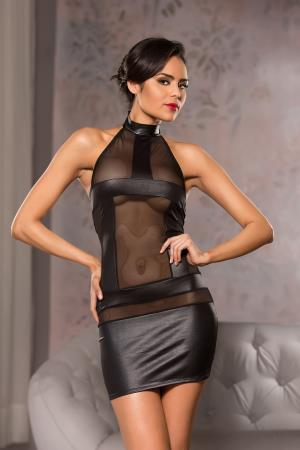 HALTER NECK MESH DRESS L/XL BLACK