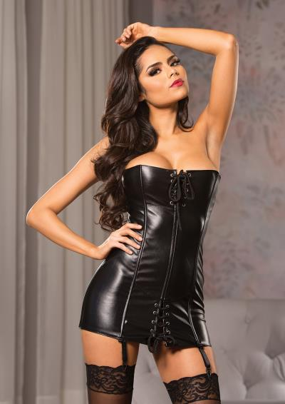 FAUX LEATHER STRAPLESS MINI DRESS L