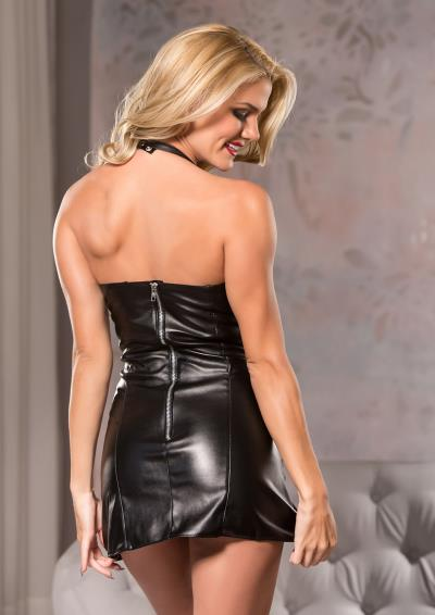 FAUX LEATHER PLAYFULLY SEXY DRESSXL