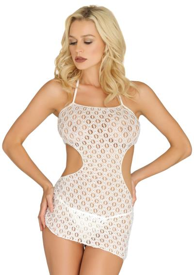 CROCHET LACE HALTER DRESS WHITE OS