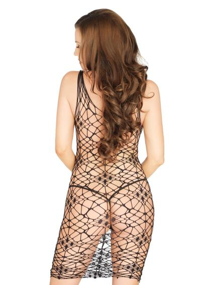 BORDEAUX NET BODYCON DRESS BLACK OS
