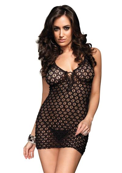 MINI DRESS AND G-STRING BLACK OS