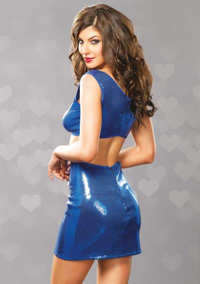 STRETCH SEQUIN MINI DRESS BLUE M