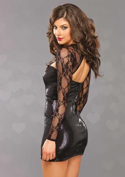 STRETCH SEQUIN MINI DRESS BLACK M