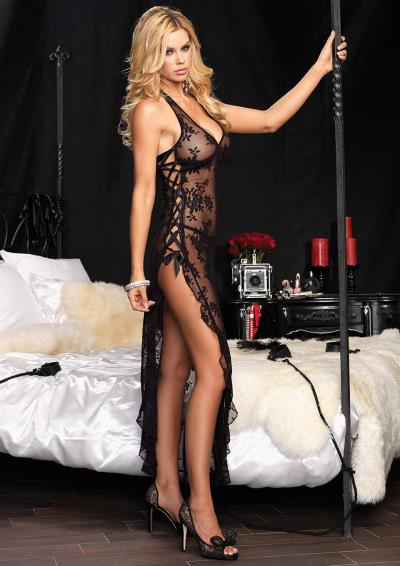 2PCS HALTER GOWN AND THONG BLACK OS