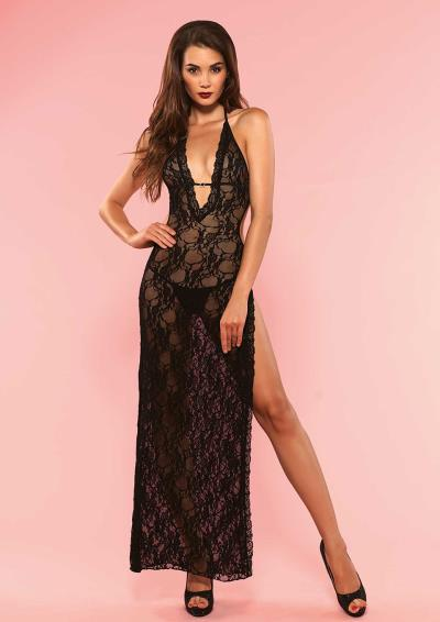 DEEP-V, HIGH SLIT LONG DRESS OS