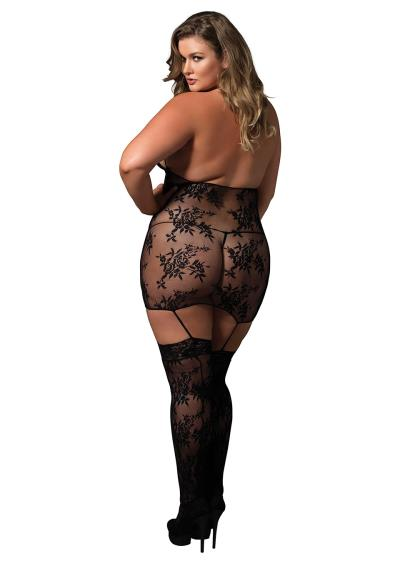 SUSPENDER BODYSTOCKING PLUS SI BLCK